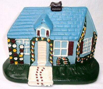 Vintage Hand Painted Farmer's Cottage Cast Iron Door Stop ~ Exc Cond ~ $0 Ship ~
