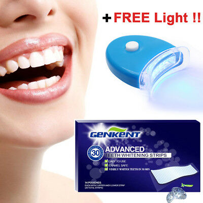 Best Gift New 28 Advanced Teeth Whitening Strips Whitener Bleaching + Free Light