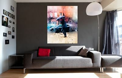COLORFUL RAINY & PEOPLE NATURE ART picture Canvas home wall choose your size