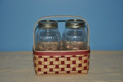 Longaberger Two Pint Basket with Canning Jars