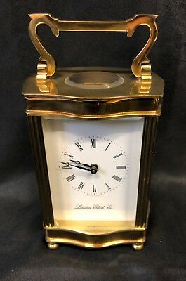 English Brass Carriage Clock with Bevelled Glass & Winding Key : FEMA LONDON