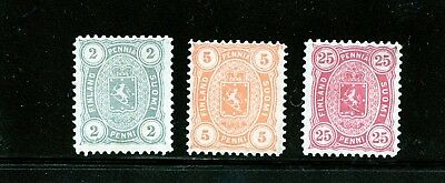 Finland #25, 26, 29 (FI454) Coat of Arms, perforated 12 1/2, M, H, CV$137.50