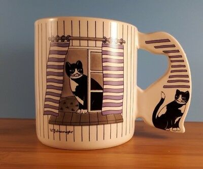 Collectible Cat Mug W. Gronemeyer Black White Cat In Window - Rare - Whimsical!