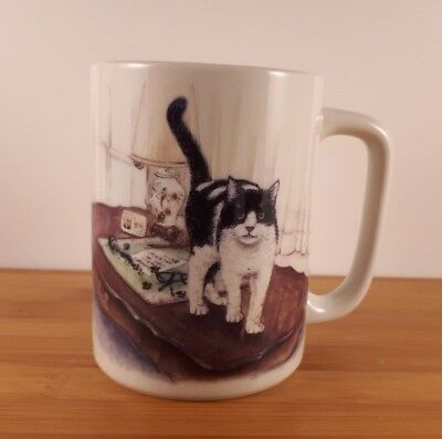 Collectible Cat Mug Otagiri Japan Jacquie Vaux Black & White Cat Excellent!