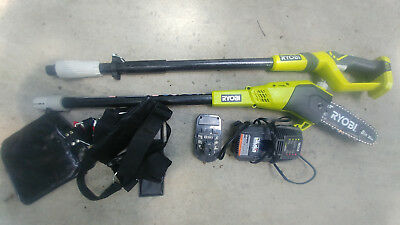 RYOBI P4360 8 in. 18V Cordless Pole Saw With Battery & Charger with middle pole