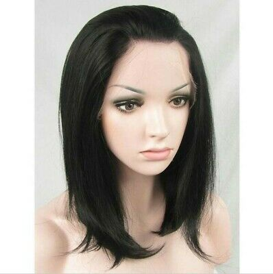 "AU 14"" GlueLess Lace Front Wig Full Head Straight Synthetic Hair Black"