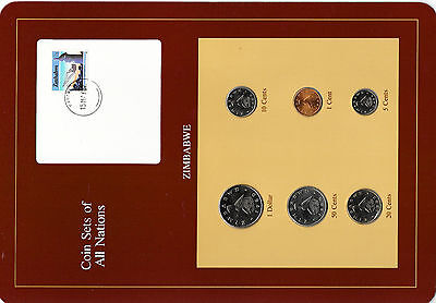 Coin Sets of All Nations Zimbabwe w/card 1980-1983 UNC 15MAY87