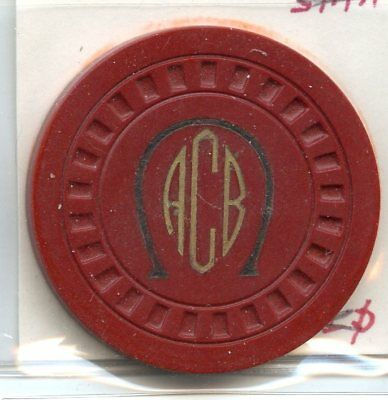 ACB in horseshoe, Red, Hub, Weirton WV     illegal casino / poker chip