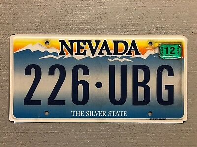 NEVADA License Plate The Silver State 226-UBG 2012 Sticker