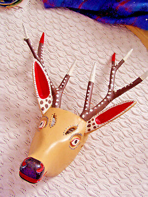 Mexican dance mask deer Carnival Carpinteros Hidalgo hand carved