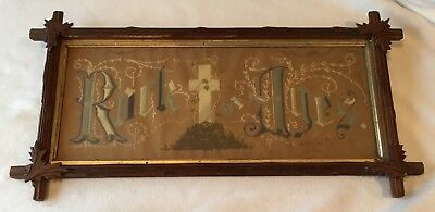 AntIque Victorian Embroidered Punched Paper Sampler Religious Rock of Ages