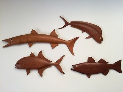 Mid Century Modern Wood Fish Sculptures Vtg Raymor Atomic Art 50's Eames Carved