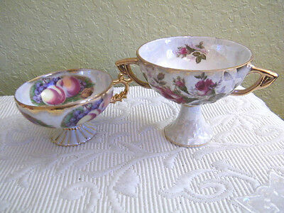 An Che Fine China Japan Cup & Pedestal Bowl Fruit W/ Gold Trim & Oyster Shell