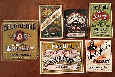 Vintage Paper Reproductions of Jack Daniels Whiskey Labels l970's