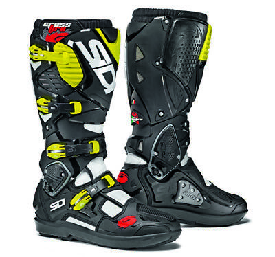 Sidi Crossfire 3 SRS Motocross Boots - White / Black / Yellow SIZE EU 43 UK 9