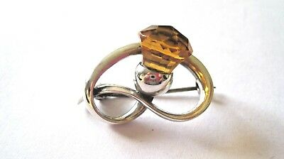 Charles Horner Art Deco solid silver brooch Chester 1923, amber amethyst paste