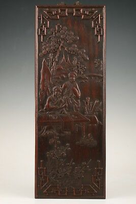 Precious Chinese Wood Board Painting Old Scholar Drawing Wall Decoration Old