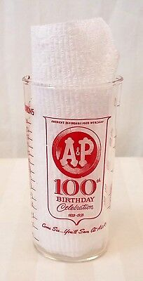 Vintage 100th birthday 1859-1959 A&P Grocery Store Glass & Measuring Cup~8 oz