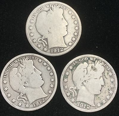 Lot of 3 Barber Silver Half Dollars 1912-P, 1912-D & 1912-S Circulated
