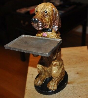 Cast Iron Basset Hound / Blood Hound Business Card Holder Office Desk Awesome