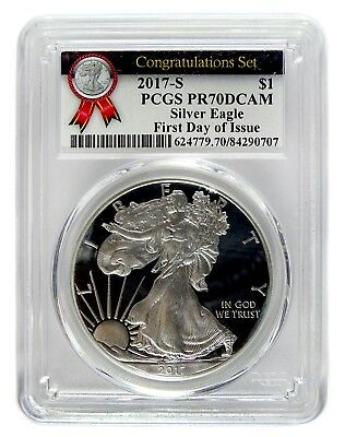 Auc0522 2017-S Proof Silver Eagle Congratulations Pcgs Pr70Dcam 1St Day Of Issue