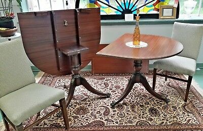 RARE English Double Pedestal Banded BRASS Inlay Mahogany Flip Top Dining Table