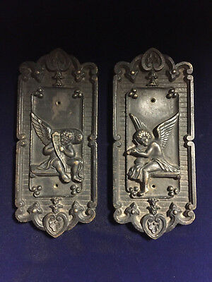 Vintage Antique  Brass Wall / Door / Push Plates Angel Cherub Very Heavy & Thick