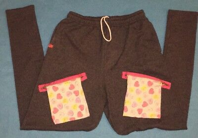 Chachimomma Hip Hop Pants With Graphic Hearts Zipper Pockets Medium