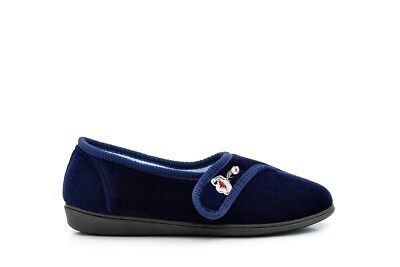 Womens Velcro Slippers Ladies Navy Slippers Embroidered Flower Touch Fasten Size