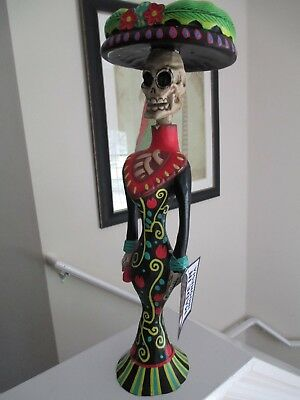 "Catrina Day Of The Dead Frida 17.5"" Tall Skull woman colorful wood carved NEW"