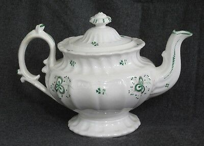 Large Ornate  mid-19th century shamrock pattern hand-painted sprigware teapot