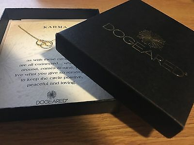 New Box Dogeared 14K Gold Plated Sterling Silver Wish Karma Three Rings Necklace