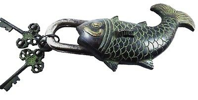 Fish Shape Antique Vintage Style Handmade Solid Brass Padlock & Keys Home Decor