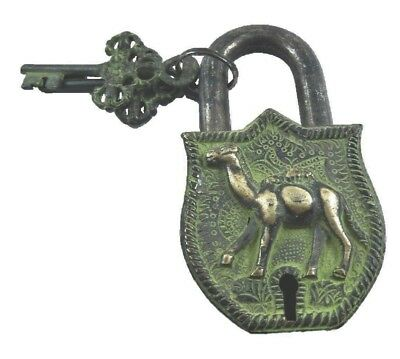 Camel Shape Antique Vintage Style Handmade Brass Padlock With Keys Home Decor