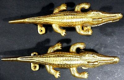 Crocodile Shape Old Antique Finish Handicraft Brass Door Handle Wall Home Decor