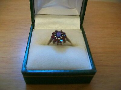 REDUCED 9 CT Gold Cluster Garnet Ring by Charles Lyster & Son Assayed Birmingham