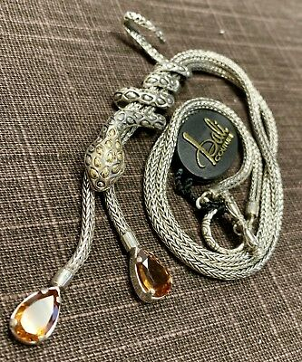 Bali Couture Snake Lariat Necklace in Sterling Silver & 18k YG & Citrine
