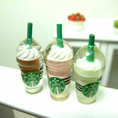 3 Dollhouse Miniature Starbucks Ice Cream Frappuccino Coffee Cups Food Drink 1/6