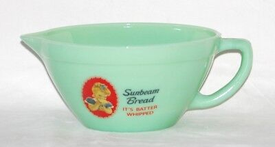 SUNBEAM BREAD BATTER BOWL JADEITE GREEN GLASS w/Advertising and POUR SPOUT