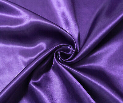 Deep Purple Luxury Silky Satin Dress Craft Fabric Wedding Material 150cm Wide