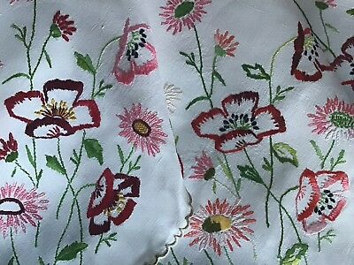 Stunning Large Vintage Irish Linen Hand Embroidered Tablecloth ~ Poppies/daisies