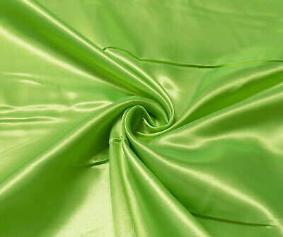 Flo Lime Luxury Silky Satin Dress Craft Fabric Wedding Material 150cm Wide