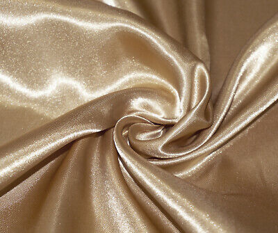 Gold Luxury Silky Satin Dress Craft Fabric Wedding Material 150cm Wide
