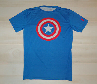 Under Armour Mens Captain America Short Sleeve Compression Shirt Heat Gear Sz XL