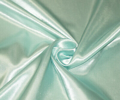 Mint Green Silky Satin Dress Craft Fabric Wedding Material 150cm Wide