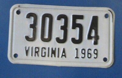1969 Virginia Motorcycle License Plate unissued and never used