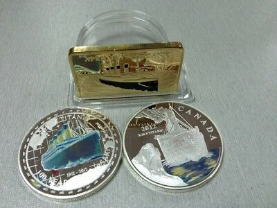 Titanic Novelty Gold Bar & Silver Coins 3 Pcs Free Capsule Collectible Gift Hot
