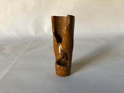 Vintage Hand Carved Wood Japanese Bat on Bamboo Netsuke Tea Scoop 2.75""