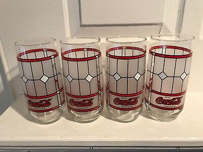 Coca-Cola Vintage Stained Glass Tiffany Style Set Of 3 Frosted Glasses +1 Free