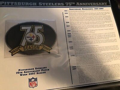 PITTSBURGH STEELERS 75th ANNIVERSARY Willabee & Ward NFL PATCH Worn 2007 season